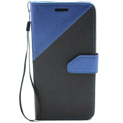 Color Stitching Leather Cover Case for Moto G5 Plus - CERULEAN