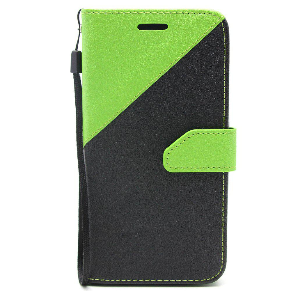 Color Stitching Leather Cover Case for Moto G5 Plus - GREEN