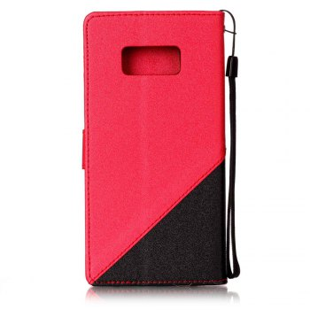 Color Stitching Leather Cover Case for Samsung Galaxy S8 -  RED