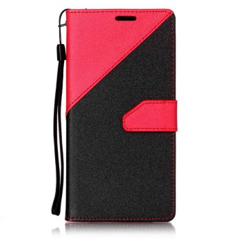Color Stitching Leather Cover Case for Samsung Galaxy S8 - RED RED