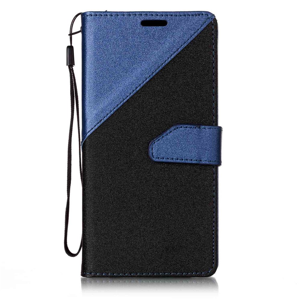 Color Stitching Leather Cover Case for Samsung Galaxy S8 - CERULEAN