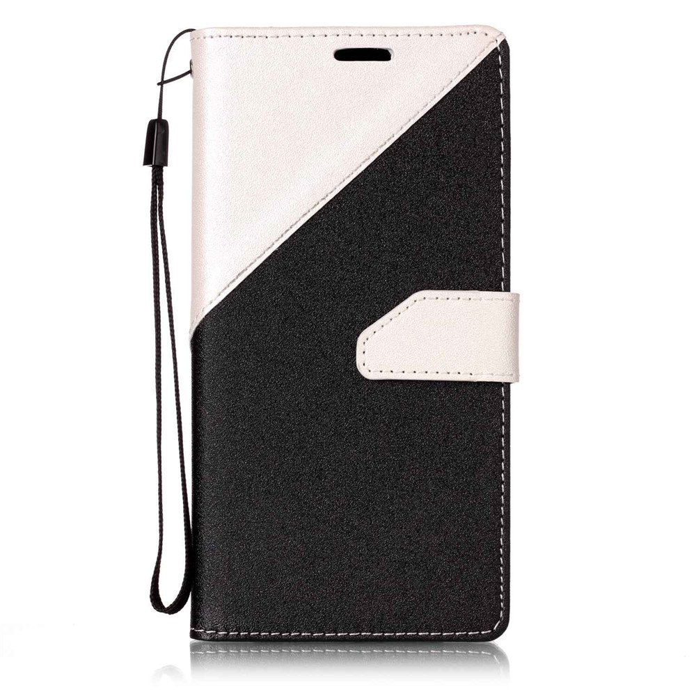 Color Stitching Leather Cover Case for Samsung Galaxy S8 - WHITE