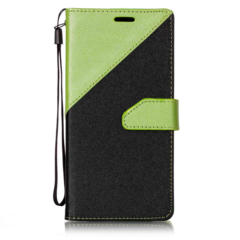 Color Stitching Leather Cover Case for Samsung Galaxy S8 - GREEN