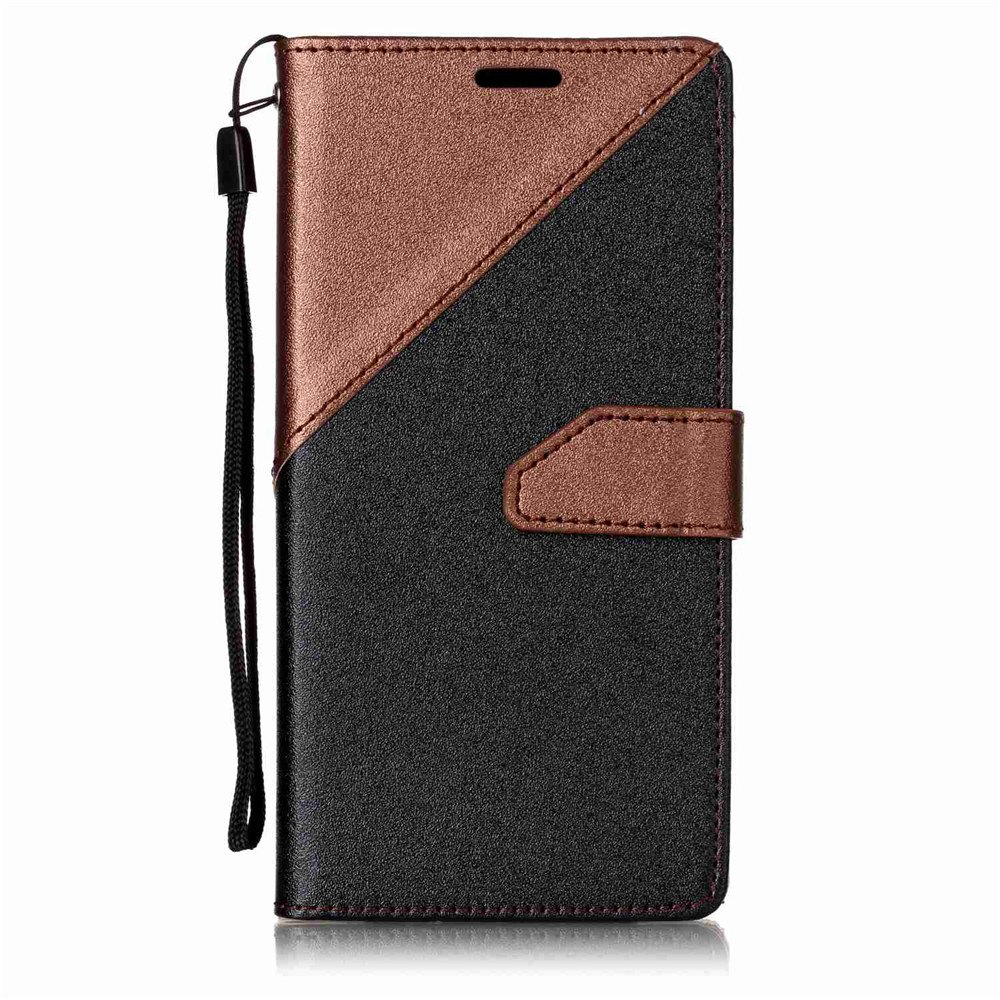 Color Stitching Leather Cover Case for Samsung Galaxy S8 - BROWN