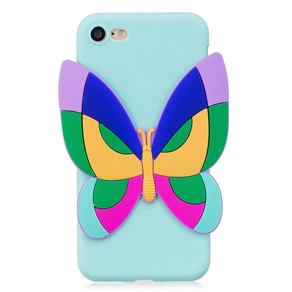3D Sticked Butterfly Phone Protection Case for iPhone 8 - BLUE