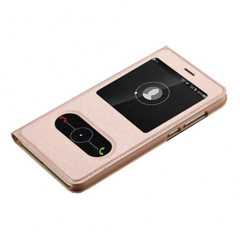 Intelligent Double Window Automatic Sleep Flip Case for Huawei P8 Lite 2017 / Honor 8 Lite - ROSE GOLD