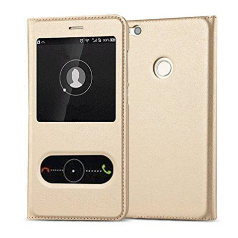 Intelligent Double Window Automatic Sleep Flip Case for Huawei P8 Lite 2017 / Honor 8 Lite - GOLDEN