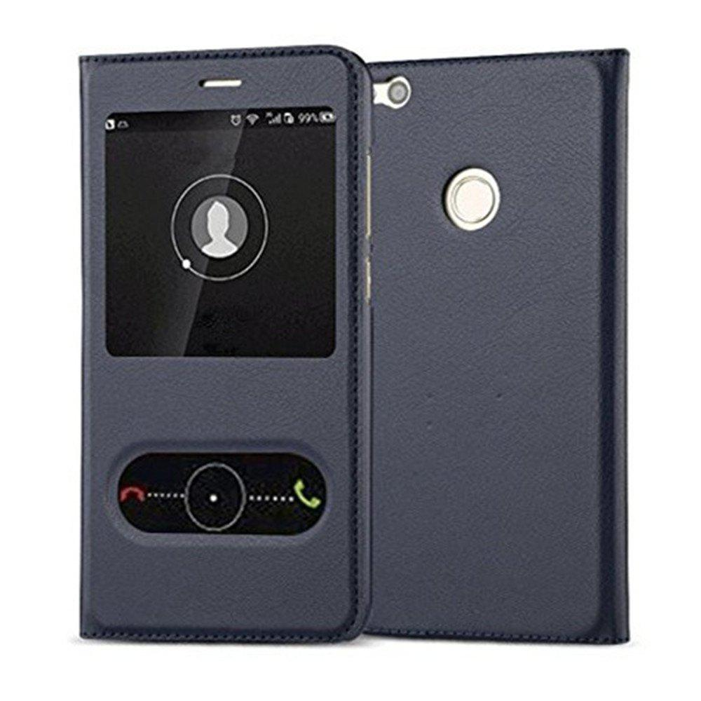 Intelligent Double Window Automatic Sleep Flip Case for Huawei P8 Lite 2017 / Honor 8 Lite - BLUE