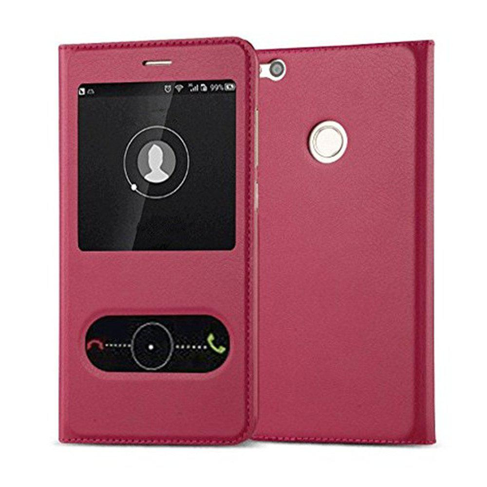 Intelligent Double Window Automatic Sleep Flip Case for Huawei P8 Lite 2017 / Honor 8 Lite - ROSE RED
