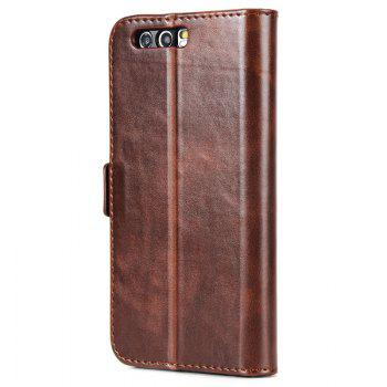 High Grade Crazy Horse Double Fold Leather Case for Huawei Honor 9 -  DEEP BROWN