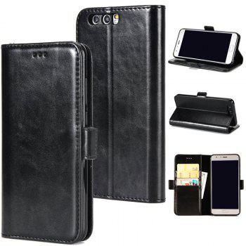 High Grade Crazy Horse Double Fold Leather Case for Huawei Honor 9 - BLACK BLACK