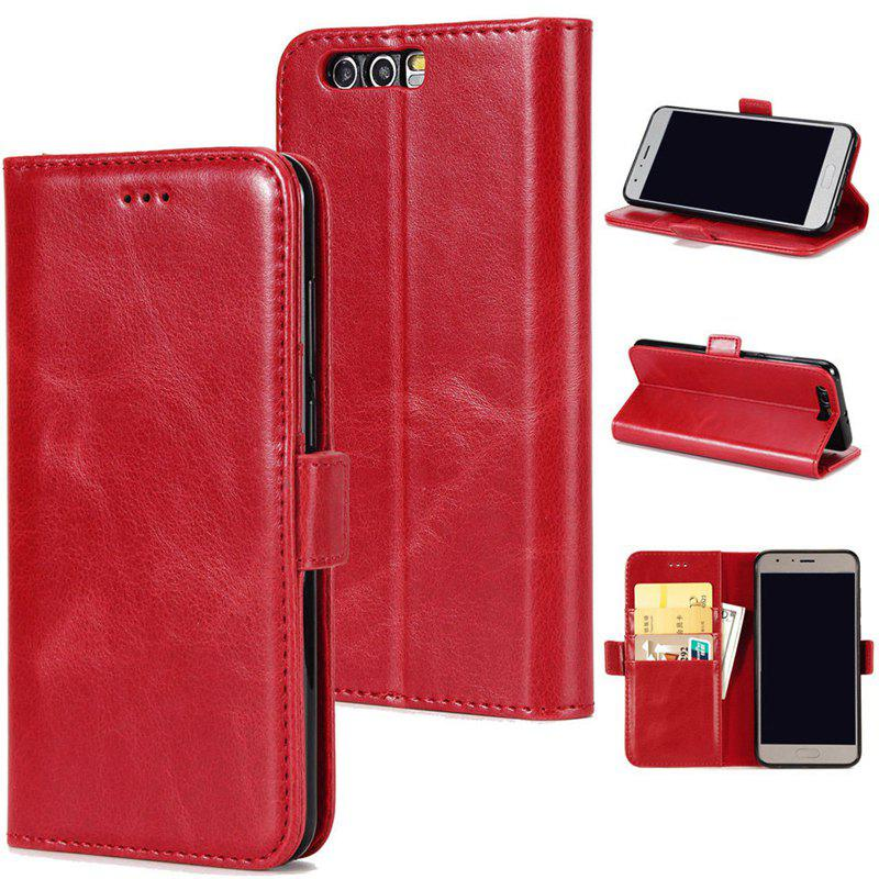 High Grade Crazy Horse Double Fold Leather Case for Huawei Honor 9 - RED