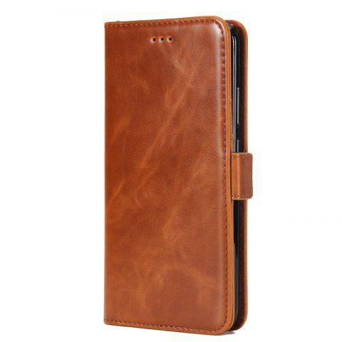 High Grade Crazy Horse Double Fold Leather Case for Huawei Honor V9 - BROWN
