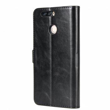 High Grade Crazy Horse Double Fold Leather Case for Huawei Honor V9 -  BLACK