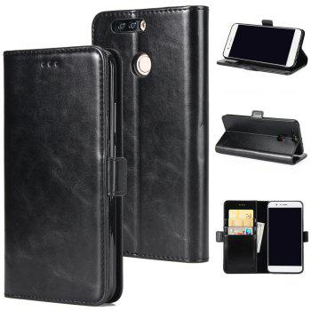 High Grade Crazy Horse Double Fold Leather Case for Huawei Honor V9 - BLACK BLACK