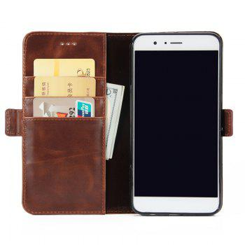 High Grade Crazy Horse Double Fold Leather Case for Huawei Honor V9 -  DEEP BROWN