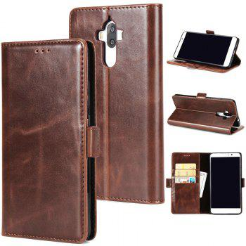 High Grade Crazy Horse Double Fold Leather Case for Huawei Mate 9 - DEEP BROWN DEEP BROWN
