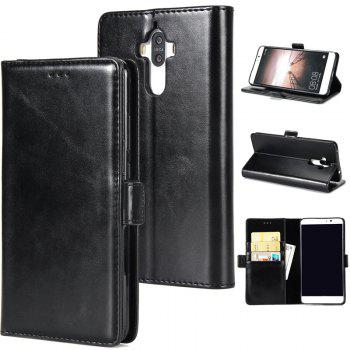High Grade Crazy Horse Double Fold Leather Case for Huawei Mate 9 - BLACK BLACK