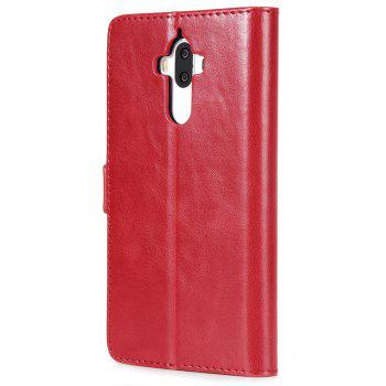 High Grade Crazy Horse Double Fold Leather Case for Huawei Mate 9 -  RED