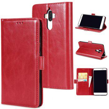 High Grade Crazy Horse Double Fold Leather Case for Huawei Mate 9 - RED RED