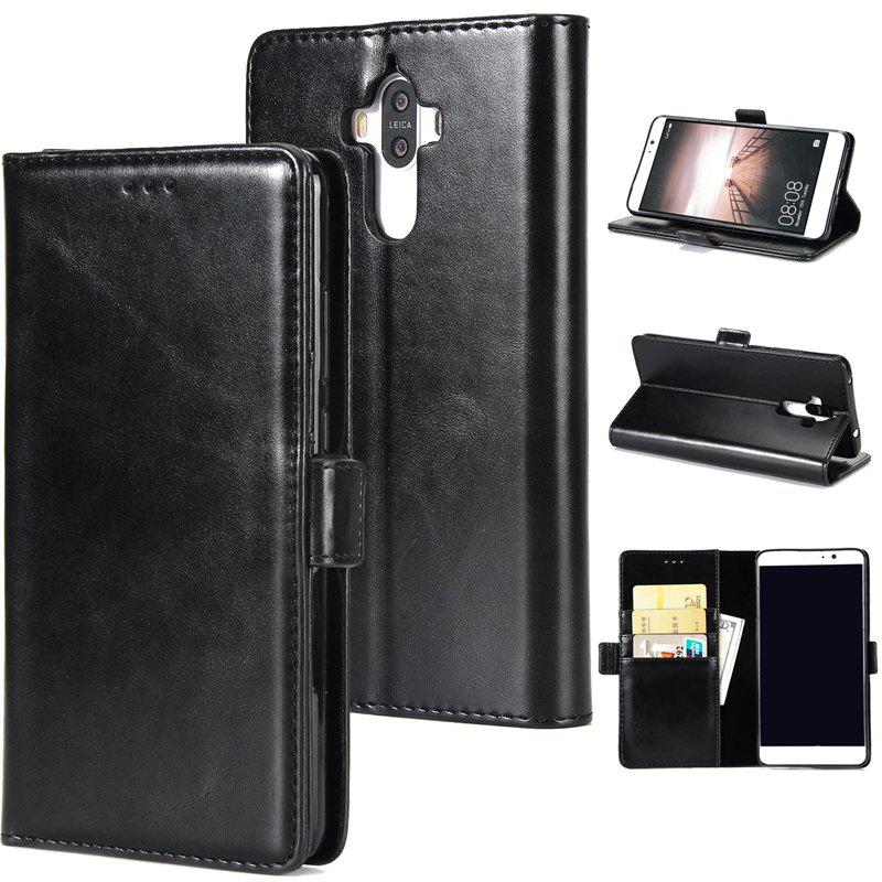 High Grade Crazy Horse Double Fold Leather Case for Huawei Mate 9 - BLACK