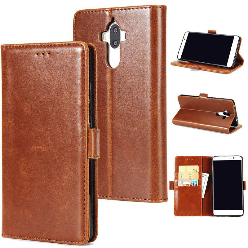 High Grade Crazy Horse Double Fold Leather Case for Huawei Mate 9 - BROWN