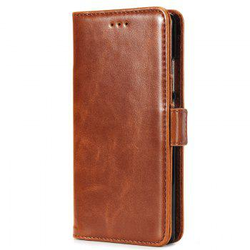 High Grade Crazy Horse Double Fold Leather Case for Huawei P8 - BROWN BROWN