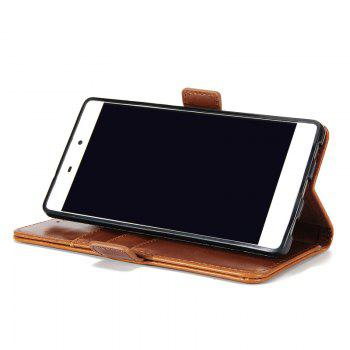 High Grade Crazy Horse Double Fold Leather Case for Huawei P8 -  BROWN