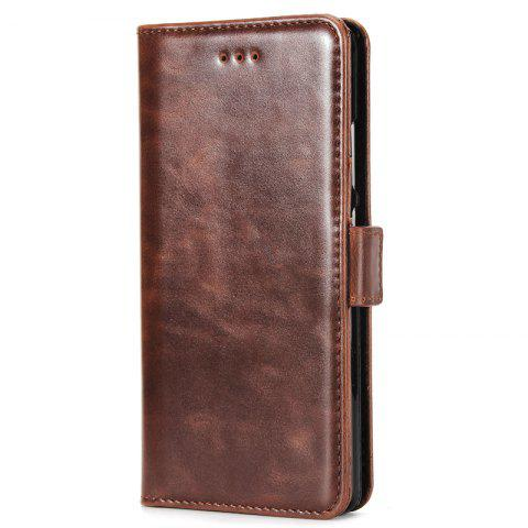 High Grade Crazy Horse Double Fold Leather Case for Huawei P9 - DEEP BROWN