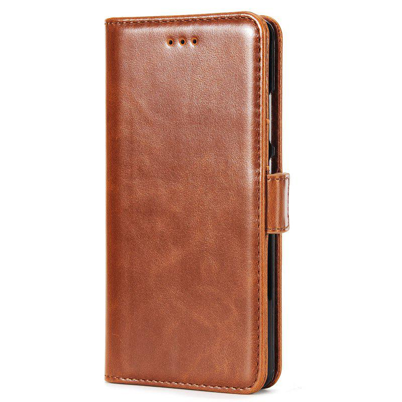 High Grade Crazy Horse Double Fold Leather Case for Huawei P9 - BROWN