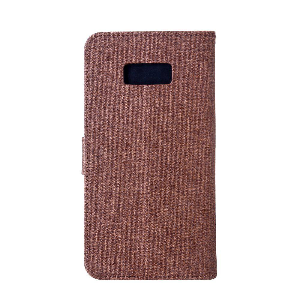 Cotton Pattern Leather Case for Samsung Galaxy S8 Plus - BROWN
