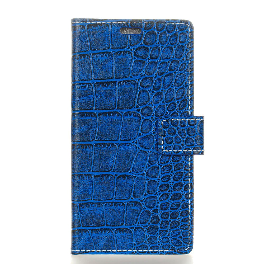 Vintage Crocodile Pattern PU Leather Wallet Case for Moto E4 Plus - BLUE