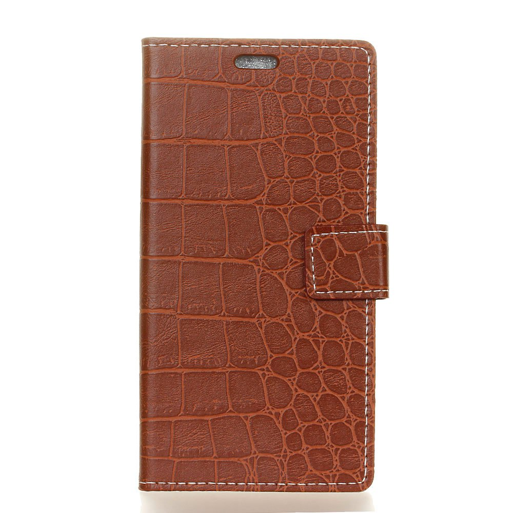 Vintage Crocodile Pattern PU Leather Wallet Case for Moto E4 American Edition - BROWN