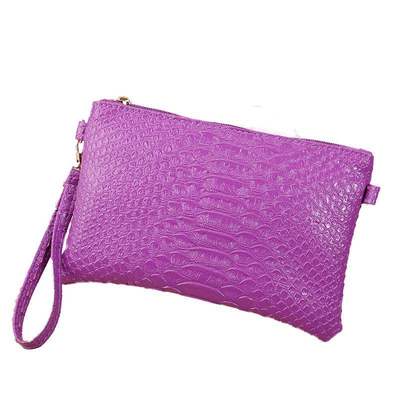Women Crocodile Pattern Shoulder Diagonal Purse - PURPLE