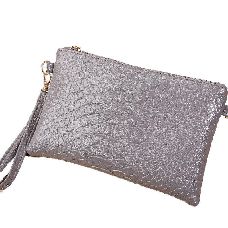 Women Crocodile Pattern Shoulder Diagonal Purse - GRAY