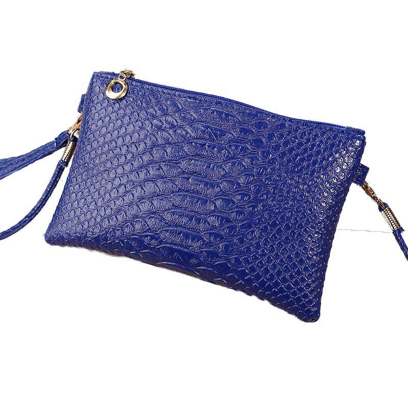 Women Crocodile Pattern Shoulder Diagonal Purse - BLUE