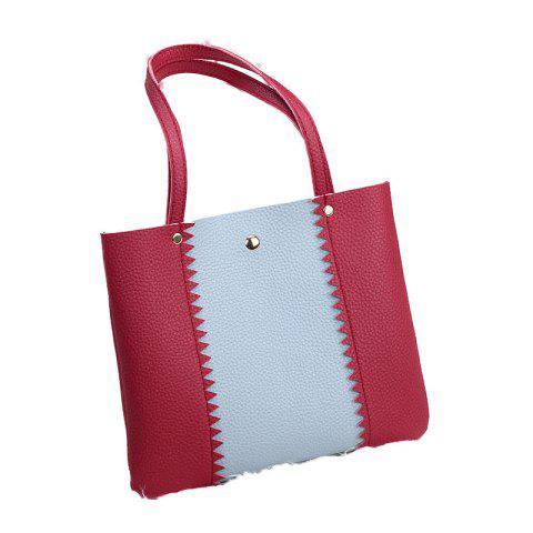 Women Casual Color Matching Lychee Pattern Mini Handbag - RED
