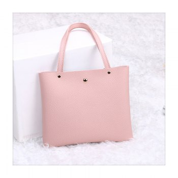 Women Casual Color Matching Lychee Pattern Mini Handbag - PINK