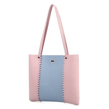 Women Casual Color Matching Lychee Pattern Mini Handbag - PINK PINK