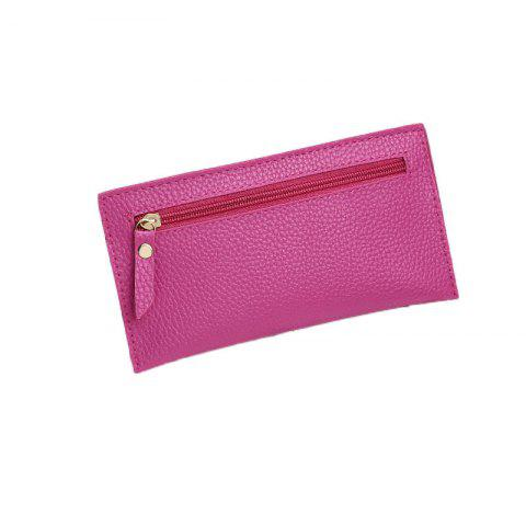 Women Casual Lychee Pattern Colourful Purse - PINK