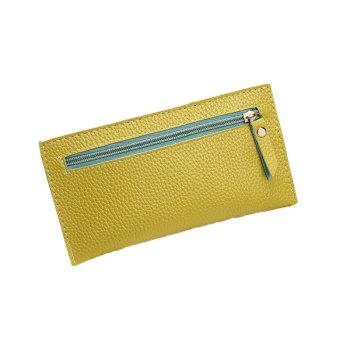 Women Casual Lychee Pattern Colourful Purse - YELLOW YELLOW