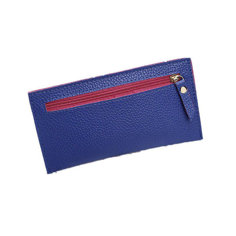Women Casual Lychee Pattern Colourful Purse - BLUE