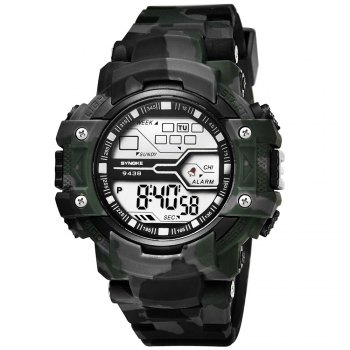 SYNOKE 9438 Trendy Sports Plastic Band Men Watch -  CAMOUFLAGE GRAY