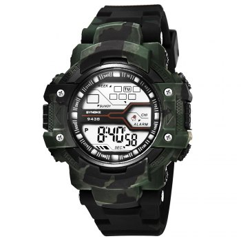 SYNOKE 9438 Trendy Sports Plastic Band Men Watch - ARMYGREEN