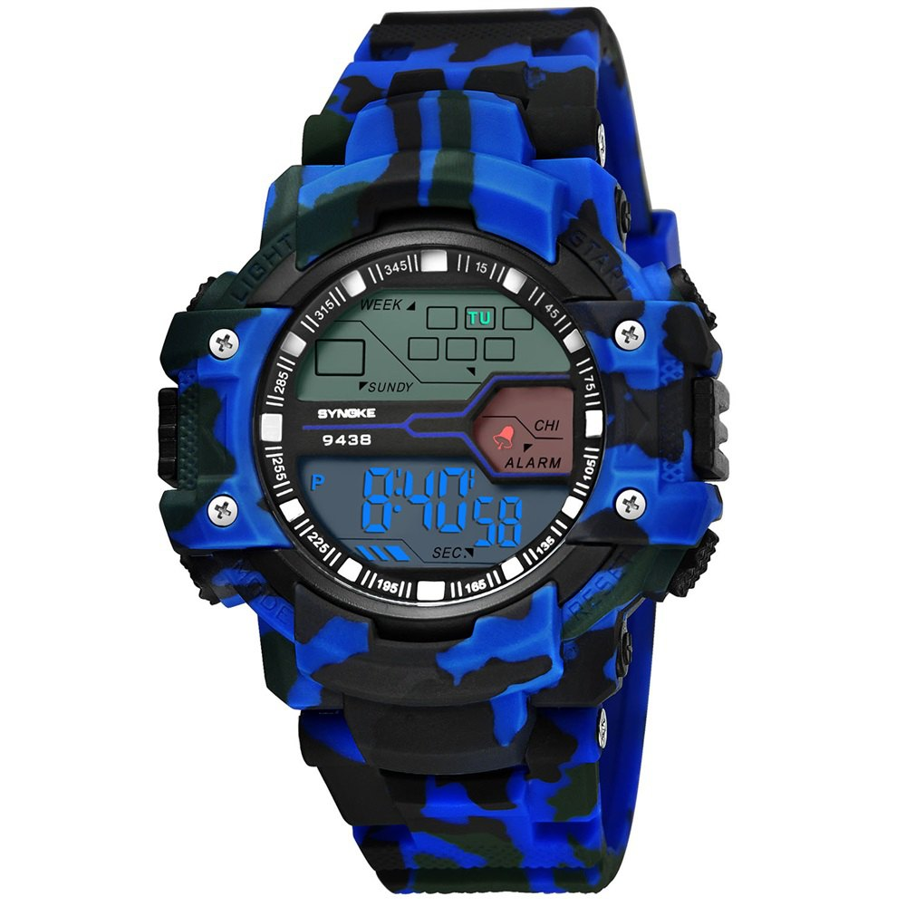 SYNOKE 9438 Trendy Sports Plastic Band Men Watch - BLUE CAMOUFLAGE
