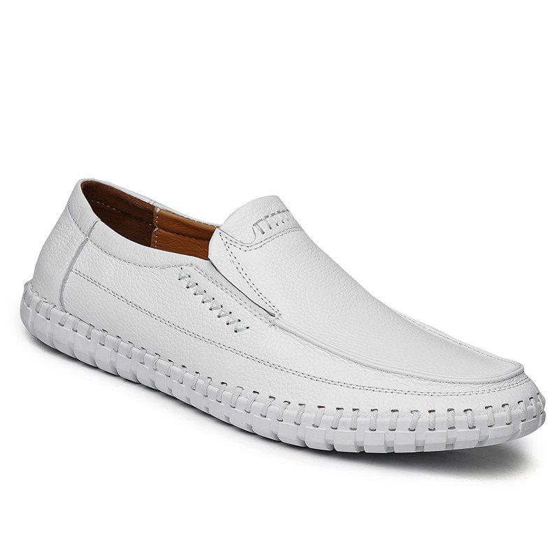 Leather Breathable Soft Soles Shoes WHITE
