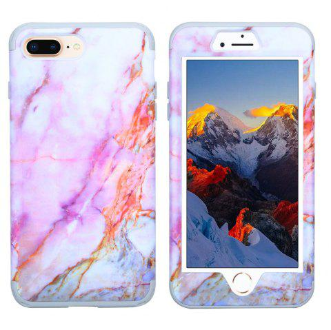 Marble PC and Silicone Anti Shock Impact Tough Armor Case for iPhone 7 Plus / 8 Plus - PURPLE