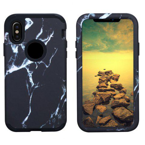 Marble PC and Silicone Anti Shock Impact Tough Armor Case for iPhone X - BLACK