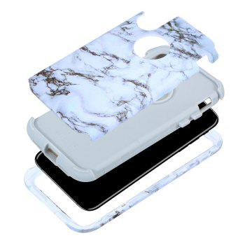 Marble PC and Silicone Anti Shock Impact Tough Armor Case for iPhone X - WHITE