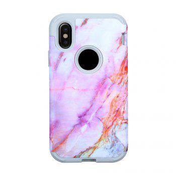 Marble PC and Silicone Anti Shock Impact Tough Armor Case for iPhone X - PURPLE